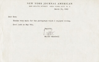 WALTER KING OF BROADWAY WINCHELL - TYPED NOTE SIGNED 03/30/1965