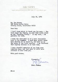 EDWIN NEWMAN - TYPED LETTER SIGNED 07/16/1973