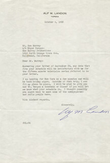 GOVERNOR ALF M. (ALFRED) LANDON - TYPED LETTER SIGNED 10/05/1953