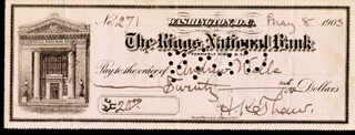 HARRY K. THAW - AUTOGRAPHED SIGNED CHECK 05/08/1903