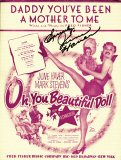 JUNE HAVER - SHEET MUSIC SIGNED CIRCA 1948