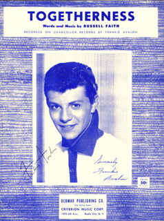 FRANKIE AVALON - SHEET MUSIC SIGNED CIRCA 1960