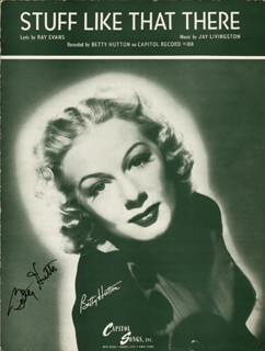 BETTY HUTTON - SHEET MUSIC SIGNED
