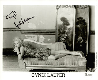 CYNDI LAUPER - INSCRIBED PRINTED PHOTOGRAPH SIGNED IN INK