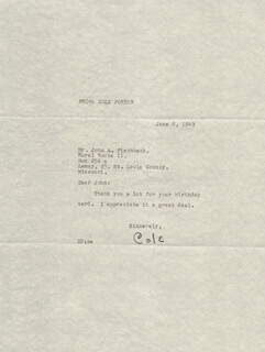 COLE PORTER - TYPED NOTE SIGNED 06/08/1949