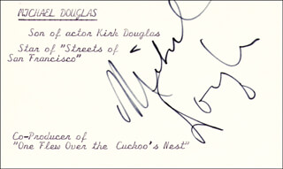 MICHAEL DOUGLAS - PRINTED CARD SIGNED IN INK