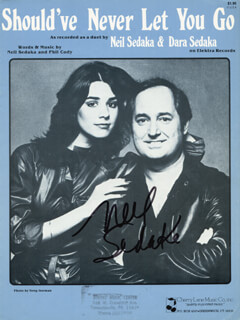 NEIL SEDAKA - SHEET MUSIC SIGNED CIRCA 1978