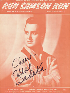 NEIL SEDAKA - SHEET MUSIC SIGNED CIRCA 1960