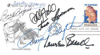 LAUREN BACALL - FIRST DAY COVER SIGNED CO-SIGNED BY: FARLEY GRANGER, JACK LEMMON, ANN BLYTH, SALLY FIELD, ROY ROGERS
