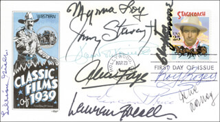 Autographs: LAUREN BACALL - FIRST DAY COVER SIGNED CO-SIGNED BY: JOAN FONTAINE, JAMES JIMMY STEWART, MYRNA LOY, ROY ROGERS, ALICE FAYE, LILLIAN GISH, VINCENT PRICE