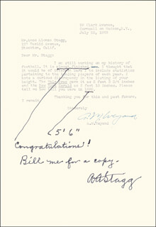 AMOS ALONZO STAGG - AUTOGRAPH NOTE SIGNED CO-SIGNED BY: A. M. WEYAND