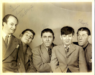 THE THREE STOOGES - INSCRIBED PHOTOGRAPH DOUBLE SIGNED CO-SIGNED BY: THREE STOOGES (SHEMP HOWARD), THREE STOOGES (MOE HOWARD)