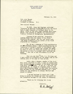 AMOS ALONZO STAGG - TYPED LETTER SIGNED 02/25/1952  - HFSID 251693