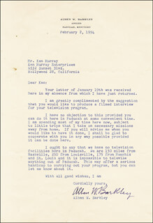 Autographs: VICE PRESIDENT ALBEN W. BARKLEY - TYPED LETTER SIGNED 02/02/1954