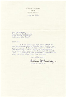 Autographs: VICE PRESIDENT ALBEN W. BARKLEY - TYPED LETTER SIGNED 06/04/1954