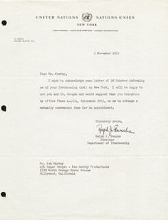 Autographs: RALPH J. BUNCHE - TYPED LETTER SIGNED 11/03/1953