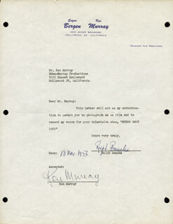 Autographs: RALPH J. BUNCHE - DOCUMENT SIGNED 11/18/1953 CO-SIGNED BY: KEN MURRAY