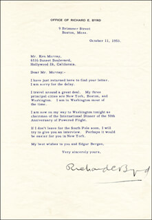 Autographs: REAR ADMIRAL RICHARD E. BYRD - TYPED LETTER SIGNED 10/11/1953
