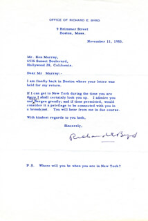 Autographs: REAR ADMIRAL RICHARD E. BYRD - TYPED LETTER SIGNED 11/11/1953
