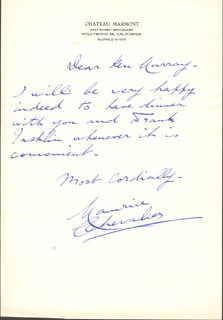 MAURICE CHEVALIER - AUTOGRAPH LETTER SIGNED