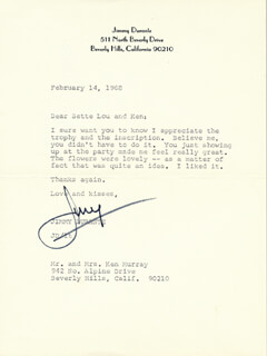 JIMMY SCHNOZZOLA DURANTE - TYPED LETTER SIGNED 02/14/1968