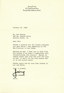 JIMMY SCHNOZZOLA DURANTE - TYPED LETTER SIGNED 10/20/1968