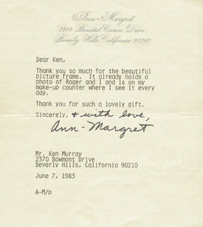 ANN-MARGRET - TYPED LETTER SIGNED 06/07/1983