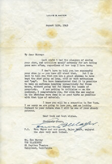 LOUIS B. MAYER - TYPED LETTER SIGNED 08/24/1949