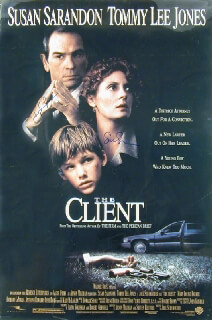 THE CLIENT MOVIE CAST - AUTOGRAPHED SIGNED POSTER CO-SIGNED BY: SUSAN SARANDON, TOMMY LEE JONES