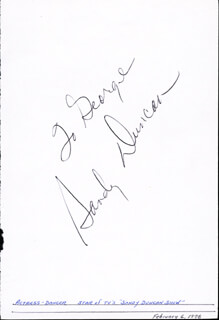 SANDY DUNCAN - INSCRIBED SIGNATURE 02/06/1978