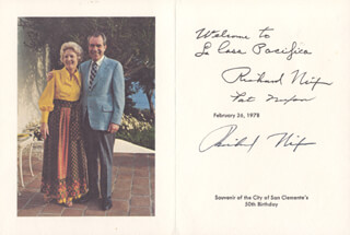 PRESIDENT RICHARD M. NIXON - GREETING CARD SIGNED 02/26/1978