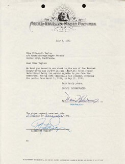 ELIZABETH LIZ TAYLOR - DOCUMENT SIGNED 07/05/1951