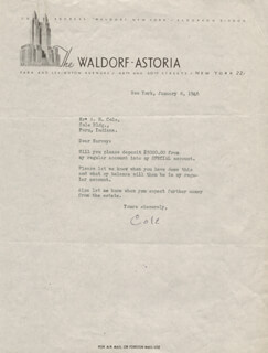COLE PORTER - TYPED LETTER SIGNED 01/08/1946