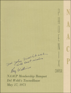 Autographs: ROY WILKINS - INSCRIBED PROGRAM SIGNED CIRCA 1971