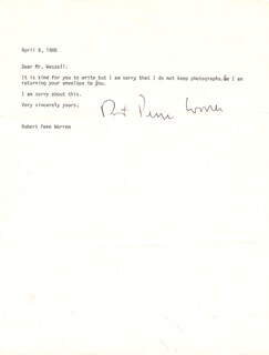 ROBERT PENN WARREN - TYPED LETTER SIGNED 04/08/1986