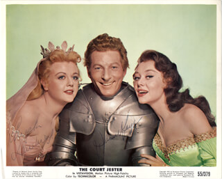 Autographs: COURT JESTER MOVIE CAST - LOBBY CARD SIGNED CO-SIGNED BY: DANNY KAYE, ANGELA LANSBURY