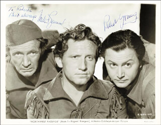 NORTHWEST PASSAGE MOVIE CAST - INSCRIBED PRINTED PHOTOGRAPH SIGNED IN INK CO-SIGNED BY: ROBERT YOUNG, WALTER BRENNAN