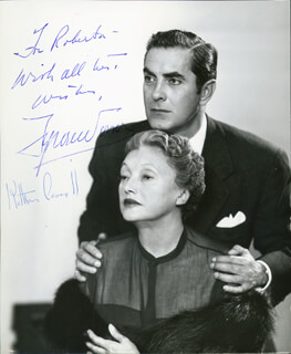 DARK IS LIGHT ENOUGH PLAY CAST - AUTOGRAPHED INSCRIBED PHOTOGRAPH CO-SIGNED BY: TYRONE POWER, KATHARINE CORNELL