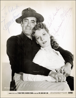LONG GRAY LINE MOVIE CAST - INSCRIBED PRINTED PHOTOGRAPH SIGNED IN INK CO-SIGNED BY: TYRONE POWER, MAUREEN O'HARA