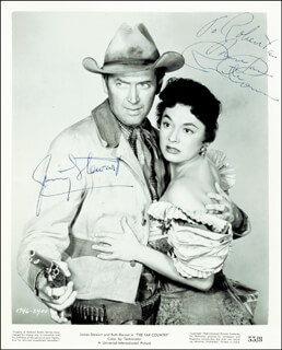 THE FAR COUNTRY - AUTOGRAPHED INSCRIBED PHOTOGRAPH CO-SIGNED BY: JAMES JIMMY STEWART, RUTH ROMAN