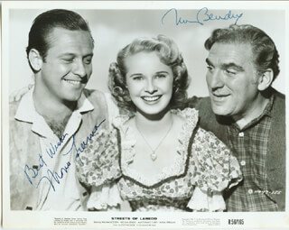 STREETS OF LAREDO MOVIE CAST - AUTOGRAPHED SIGNED PHOTOGRAPH CO-SIGNED BY: WILLIAM BENDIX, MONA FREEMAN