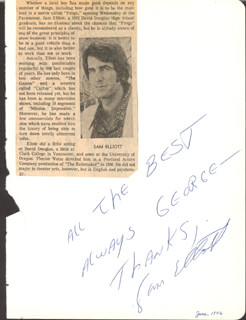 SAM ELLIOTT - AUTOGRAPH NOTE SIGNED