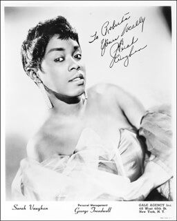 SARAH VAUGHAN - AUTOGRAPHED SIGNED PHOTOGRAPH