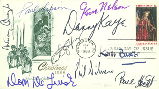 PHIL SILVERS - FIRST DAY COVER SIGNED CO-SIGNED BY: PAUL LIPSON, DOM DELUISE, ARTHUR GODFREY, GENE NELSON, SIR ANTHONY QUAYLE, KEITH BAXTER, DANNY KAYE, PAUL HECHT