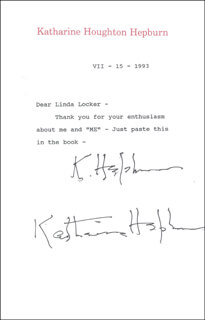 KATHARINE HEPBURN - TYPED LETTER TWICE SIGNED 07/15/1993