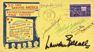 LAUREN BACALL - FIRST DAY COVER SIGNED CO-SIGNED BY: FARLEY GRANGER, CYD CHARISSE, DOUGLAS FAIRBANKS JR., JANET LEIGH