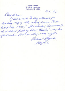 BUSTER CRABBE - AUTOGRAPH LETTER SIGNED 04/17/1982