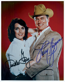 DALLAS TV CAST - AUTOGRAPHED SIGNED PHOTOGRAPH CO-SIGNED BY: LINDA GRAY, LARRY HAGMAN