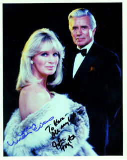 DYNASTY TV CAST - AUTOGRAPHED INSCRIBED PHOTOGRAPH CO-SIGNED BY: JOHN FORSYTHE, LINDA EVANS