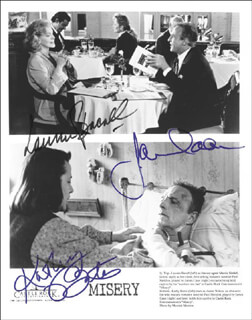 MISERY MOVIE CAST - AUTOGRAPHED SIGNED PHOTOGRAPH CO-SIGNED BY: KATHY BATES, LAUREN BACALL, JAMES CAAN